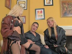 Stunning blonde babes suck a dick and sit on guy's face