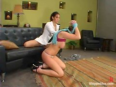 Isis Love humiliates Penny Flame before drilling her vag with a strapon