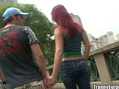 Joy Spears the lovely redhead tranny rides a dick