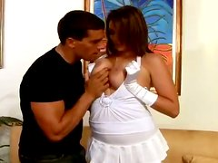 Beautiful Charlie James rides a cock and gives a titjob