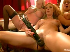 Hot redhead chick Audrey Hollander gets her ass torn up in group scene
