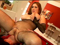 Diva with huge tits loves fucking in her fishnet suit