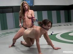 Karrlie Dawn sucks a strap-on and gets toyed in a ring