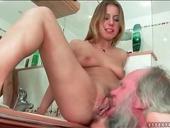 Grandpa eats his creampie out of Nikky Thorne
