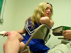 Nineteen year old sexy blondie got her wet pussy fucked by her teacher