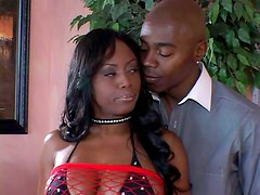 Cum hungry ebony is getting a thick black cock