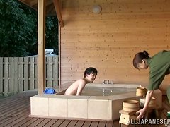 Japanese Cleaning Lady Blowjobs in the Spa's Hottub
