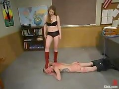 Ian Frost gets punished by Princess Kali in a classroom