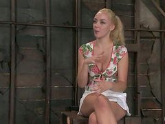 Annette Schwarz gets her holes toyed and fingered in BDSM clip