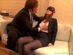 Blindfolded Anri Oonuki Gets Her Pantyhose Ripped and Her Pussy Fucked