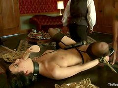 Two smoking hot sirens are being humiliated and tugged hard