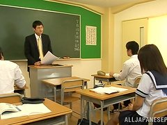 College girl Koharu Aoi pleases her teacher in class.