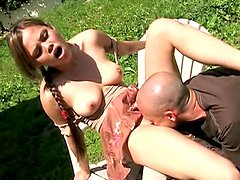 Luscious bunny is getting drilled on a sunny day outdoors