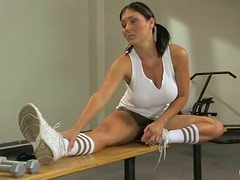 Claire Dames enjoys some hot tortures in a gym in BDSM scene