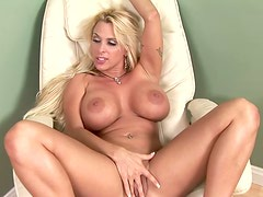 Big tittied Holly Halston fucks on a chair and gets facialed