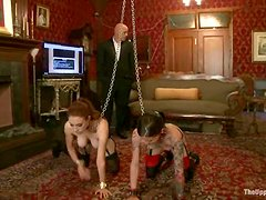 Iona Grace and her GF suck some dude's schlong in BDSM scene