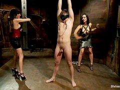 Two gorgeous brunette mistresses dominate a guy