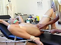 Happy nurse with amazing lips is licking fresh love tunnel