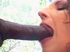 Shy and brave Lucy Lee is sucking huge penis outdoors