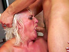 Granny takes creampie in the gym