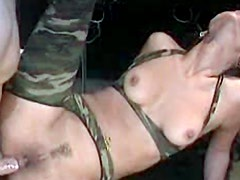 Military outfit on slutty anal girl