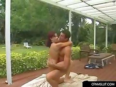 Wife and husband fuck in their patio