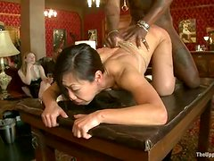 Asian chick Tia ling and her brunette friend Cherry are in public humiliation