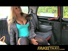 Busty blonde skank gets fucked deep and hard in a car