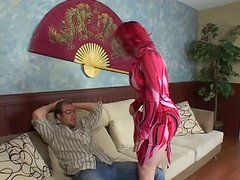 Banging Slut with Red Hair Miss Bunny's Pierced Shaved Pussy