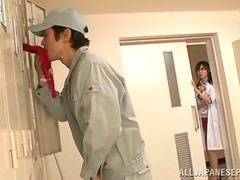 Asian in Glasses Meisa Chibana Handjobs and Blowjobs the Janitor