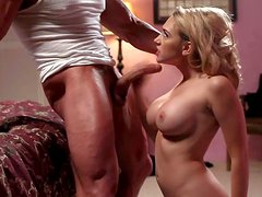 Young adorable blonde Kagney Linn Karter with perfect big boobs