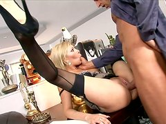 Insanely hot office assistant gets fucked in missionary position