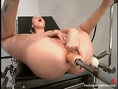 Crazy blond chick loves getting fucked anal by a machine