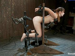Sasha gets banged by a sex machine while being chained in a pillory