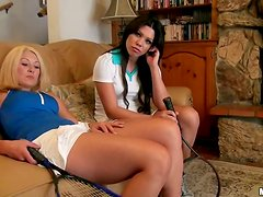 POV video with hot babes riding a dick after playing tennis