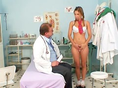 Rachel Evans poses in front her lovely doctor