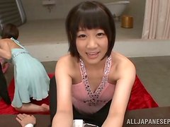 Ready for a hot double blowjob by two kinky Japanese girls?
