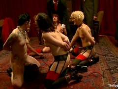 Horny bitches get tied up and fucked at Christmas party
