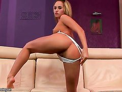 Brunette Aleska Diamond strips and plays