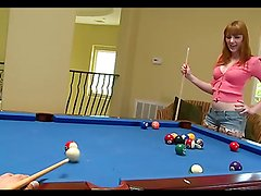 Slut gets her hairy pussy fucked on a pool table!