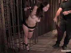 Booty brunette gets tied up and abused in her vagina