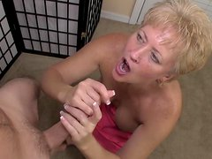 Busty mature blonde swallows this sperm