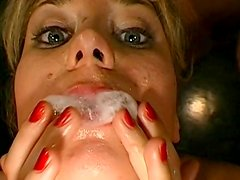 Gangbang with cum-swallowing sexy chicks