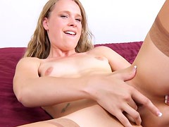 Blonde Annastevens fuck with herself in the bed