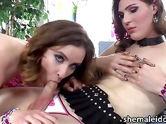 Shemale cop Stefani arrests hot babe Jay