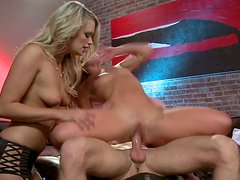 Blonde stunners fucking furiously in a steamy FFM threesome