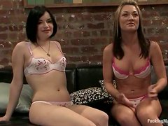 Blonde and brunette with relentless fucking machine