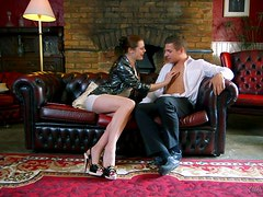 Delightful Karina Currie fucks on a sofa with big cocked man