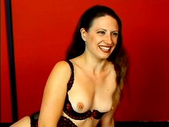 Hot MILF in stockings and lingerie gets face fucked