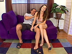 Curly brunette chick gets fucked hard by a muscular guy